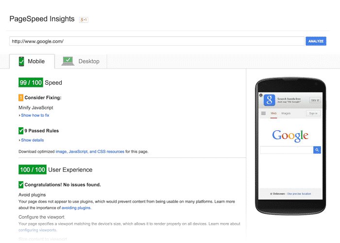 page speed insight