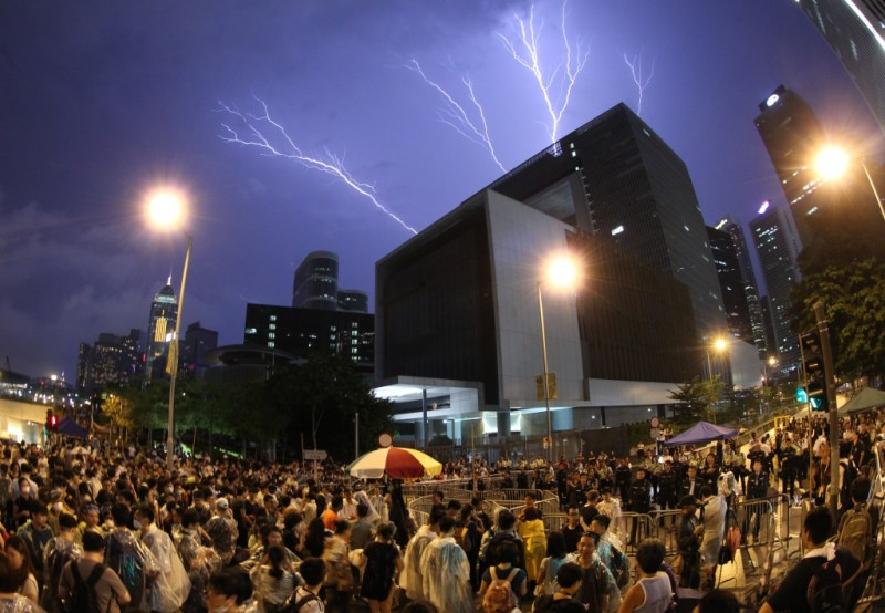 """Lightning over Hong Kong Government Headquarters."" By Ho Ka Tat. Apple Daily"