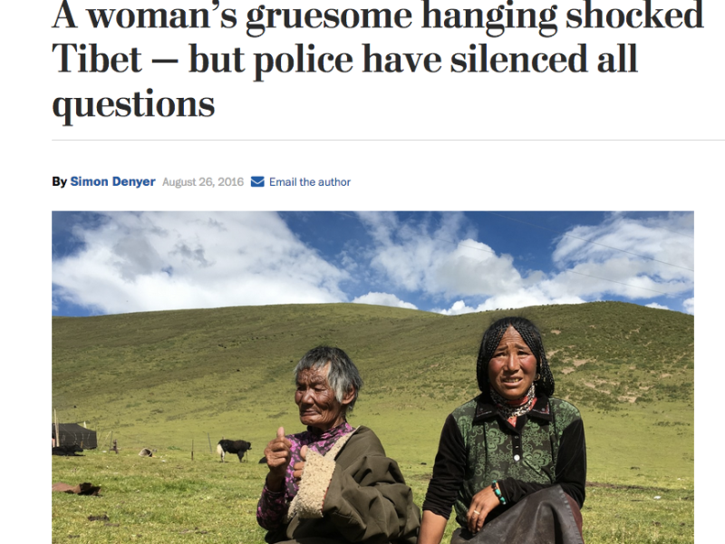 Simon Denyer's Washington Post article drew attention to the shocking death of Tsering Tso.