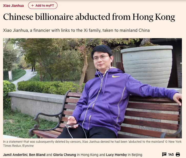 Chinese billionaire abducted from Hong Kong