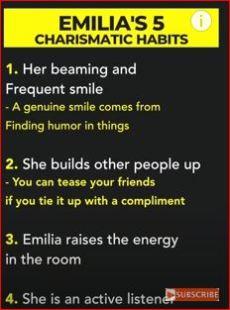 Emilia Clarke's Charisma Traits include Genuine smile and  Active listener