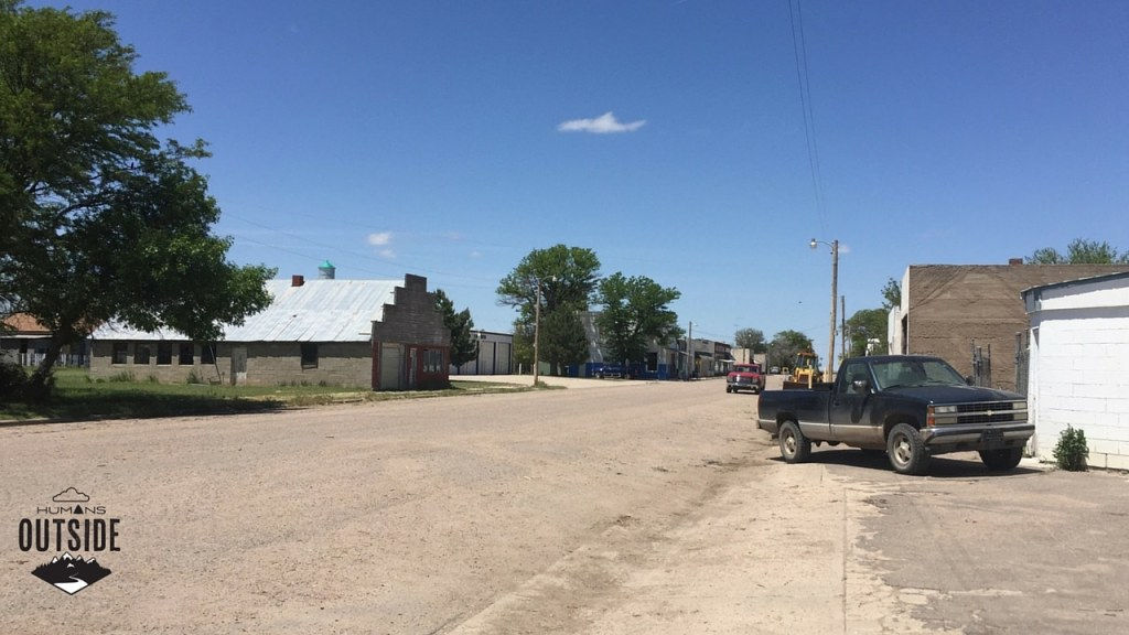 Kanorado, Kansas -- the last Kansas gas off the highway. They aren't so into paving their roads there.