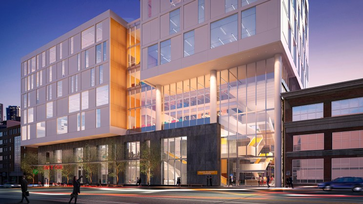 a rendering of the new Ryerson Church Street Development, the building takes the form of three white boxes atop a common podium