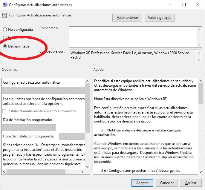 Cómo deshabilitar, desactivar las actualizaciones automáticas (Windows update) en Windows 10 con el editor de directivas de grupo (gpedit).