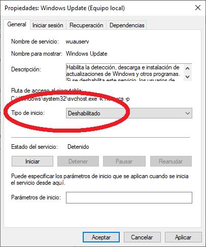 """Cómo deshabilitar/desactivar las actualizaciones automáticas (Windows update) en Windows 10 desde la opción de """"servicios""""."""
