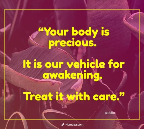 """Your body is precious. It is our vehicle for awakening. Treat it with care."""
