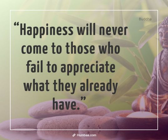 happiness will never come to those who fail to appreciate what they already have by buddha on humbaa 1 »