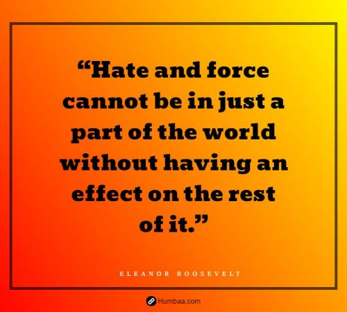 """""""Hate and force cannot be in just a part of the world without having an effect on the rest of it."""" By Eleanor Roosevelt on Humbaa.com"""