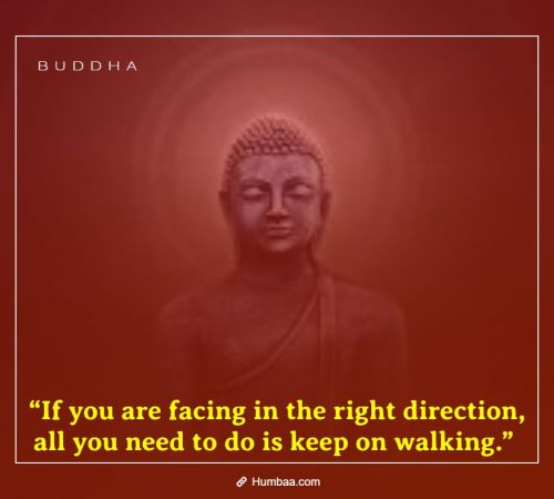 """If you are facing in the right direction, all you need to do is keep on walking."" By Buddha on Humbaa"