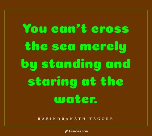 You can't cross the sea merely by standing and staring at the water. By Rabindranath Tagore on Humbaa.com