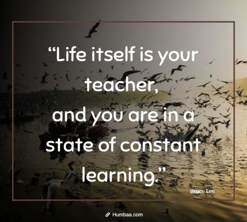 """Life itself is your teacher, and you are in a state of constant learning."" by Bruce Lee on Humbaa"