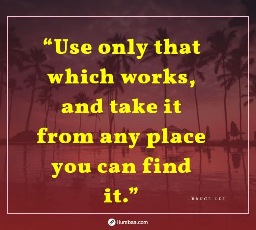 """Use only that which works, and take it from any place you can find it."" by Bruce Lee on Humbaa"