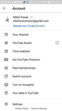 Click on the SWITCH ACCOUNT and select the Gmail account