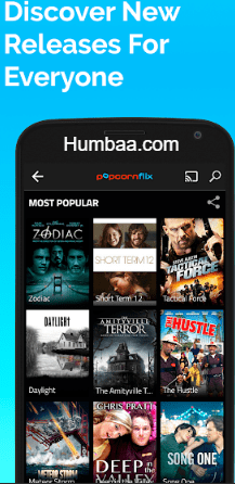 Popcornflix website on App