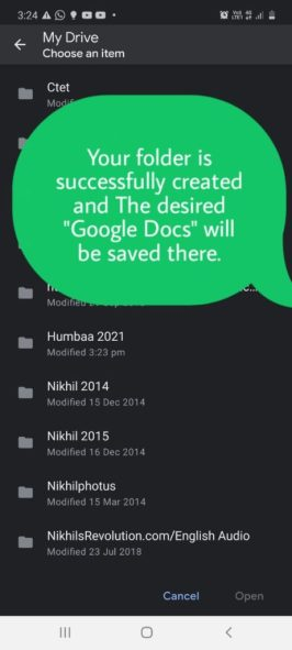 "Your folder is successfully created and the desired ""Google Docs"" will be saved there."