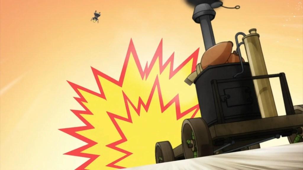 Steam engine runs over Magma