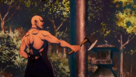 A man threatens to chop Utahime