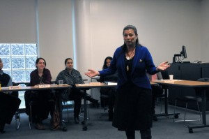 Elder Shelley Charles contributes to the discussion at the Aboriginal Awareness Workshop, Nov. 26. PHOTO ALBERT WILLIAMS.