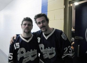 PHOTO BY MICHAEL BEREZHNOY Toronto Lakeshore Patriots' Luke Carter (left) and Chris Sekelyk, after the Nov. 23 game.