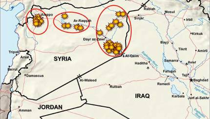 Map indicates the U.S. strike against ISIS on Monday.
