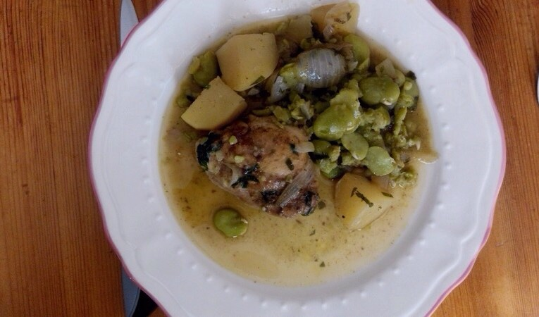 Tajine de poulet aux fèves