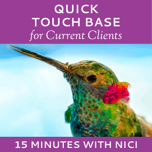 Schedule a Quick Touch Base with Nici Lucas of Hummingbird Marketing Services (for Current Clients)
