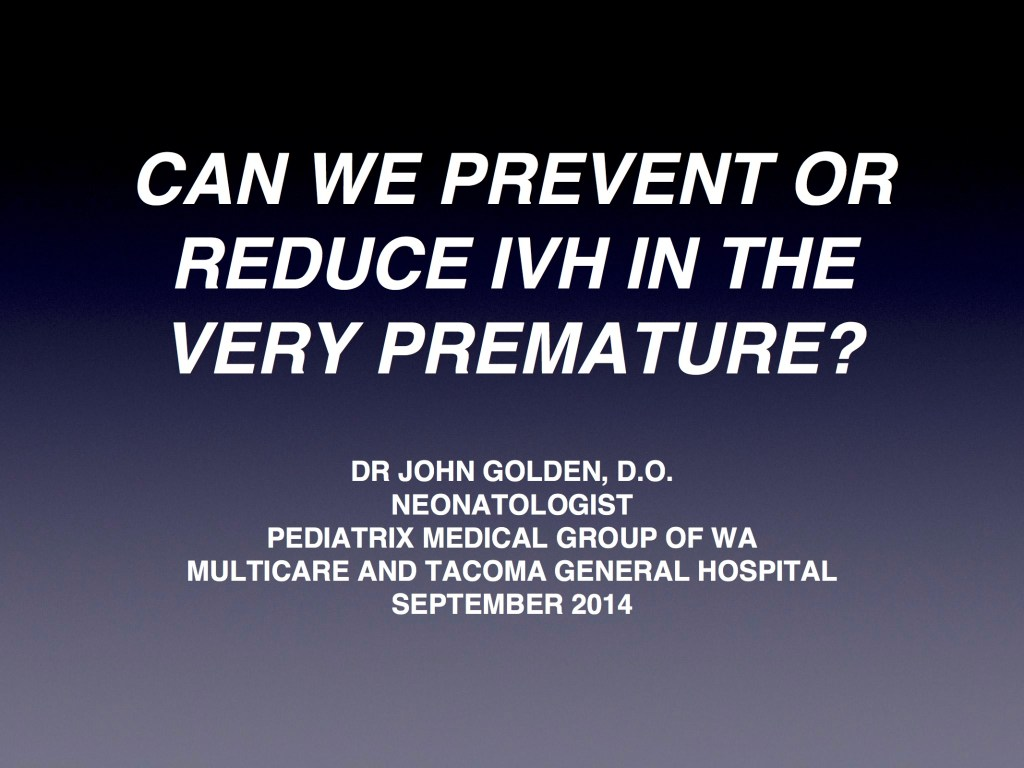 Strategies to Reduce IVH-pg1