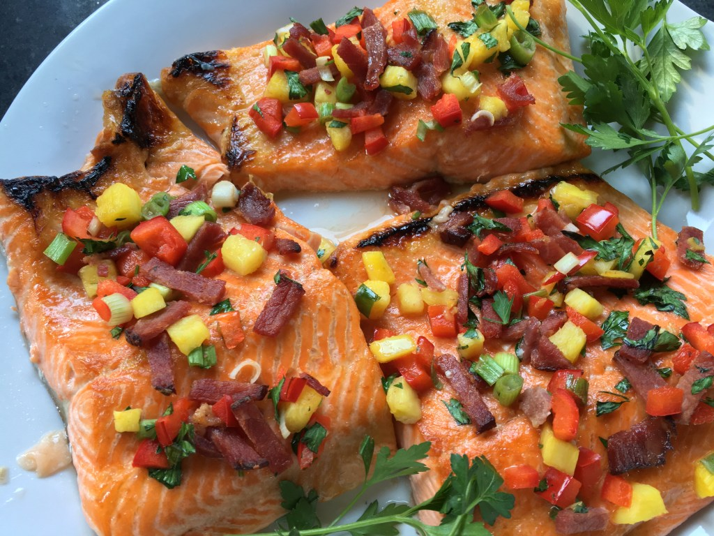 Broiled Salmon with Pineapple and Bacon Salsa 2