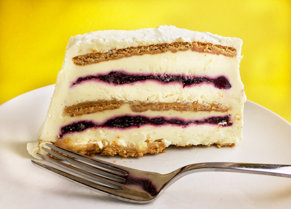 Blueberry-Lemon Icebox Cake slice featured