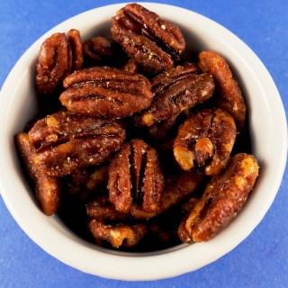 Sweet and Spicy Pecans in ramekin