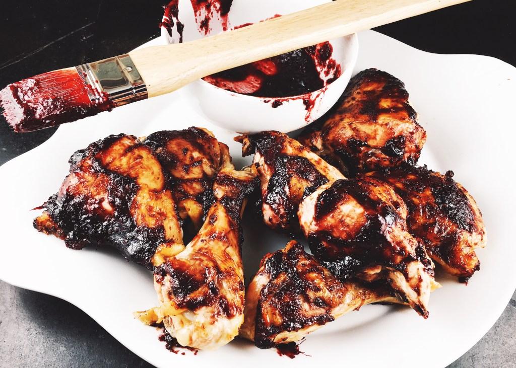 Spicy Blackberry BBQ Sauce with Chicken