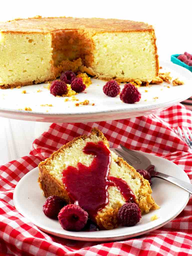 Cold Oven Cream Cheese Poundcake with Raspberry Sauce