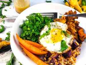 Vegan Farro Mushroom Sweet Potato Bowl