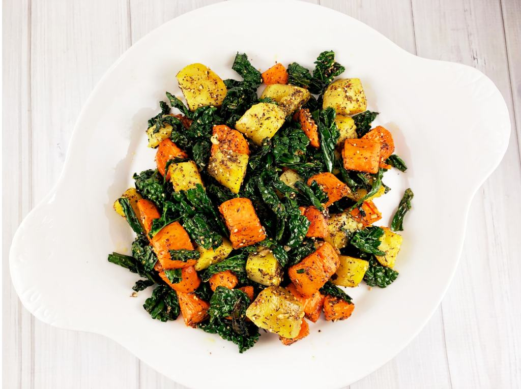 Za'atar Sweet Potatoes Garlic Kale