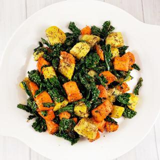 Za'atar Sweet Potatoes Garlic Kale