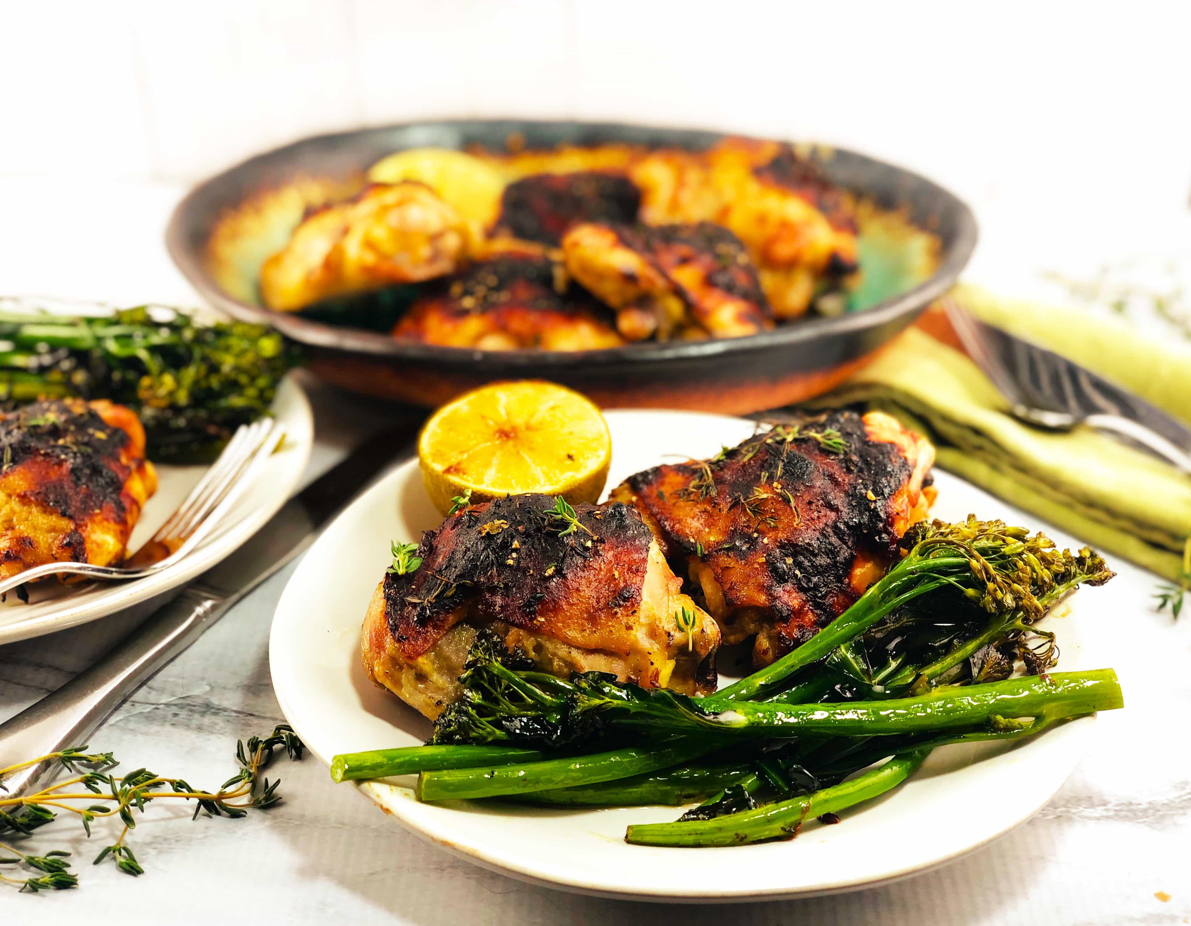 Rhubarb Chicken with Broccolini and Lime Wedge