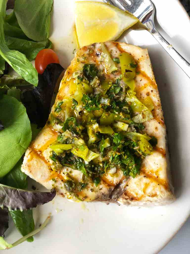 Grilled Swordfish with Oregano Caper Sauce, Pepperoncini and Mint