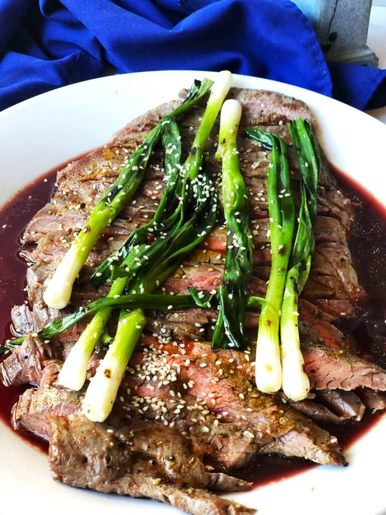 Grilled Flank Steak with Soy Marinade and Scallions