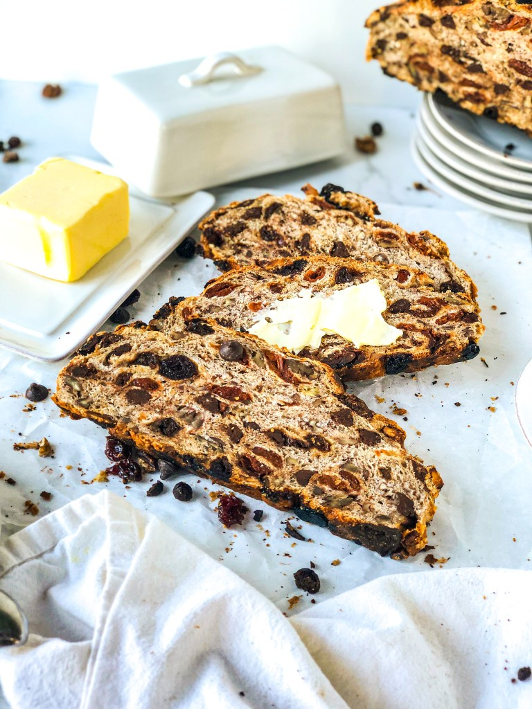 No knead bread with chocolate chips, pecans, dried cherries