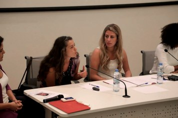 Panel discussion at ISI, Marta Bogdanska and Roula Hamati, October 8, 2014, Beirut. Photo by Mourad Ayyash from RightsCast