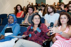 One of the participants taking part in the discussion at ISI, Oct 8, 2014, Beirut. Photo by Marta Bogdanska