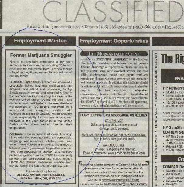 Some humorous newspaper ads.