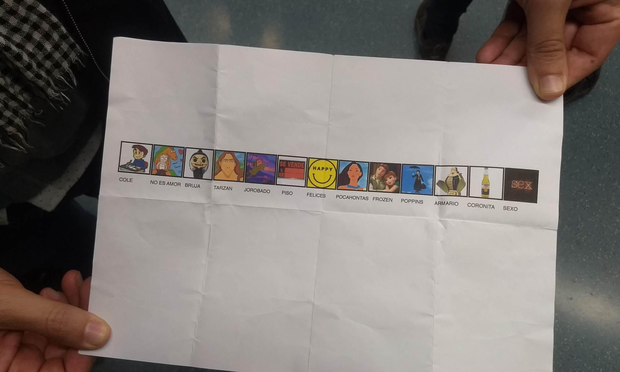 Lista visual del cuarto mónologo de Roger Prat