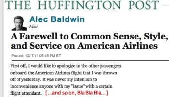 Alec Baldwin American Airlines Apology