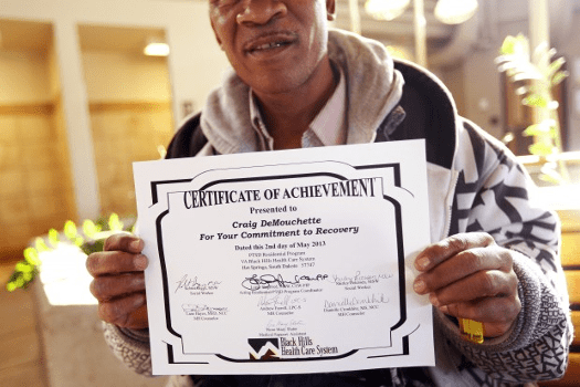 "The VA printed this certificate for DeMouchette's record-setting recovery from PTSD because they can't legally give awards for ""instilling white guilt, however temporary."""