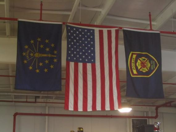 Flags are cool. Well, these flags are in the Albion Fire station, so maybe they're hot.