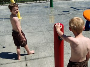 Grandtwins at Splash Pad 2 2014