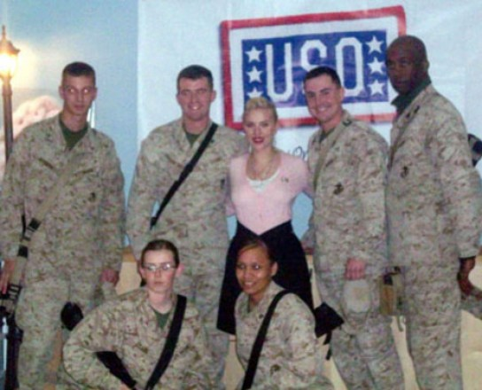 Greg with Scarlett Johansson when she visited the troops in Iraq, 2008