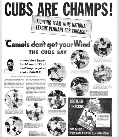 "Which is more unbelievable? ""Cubs Are Champs"" or ""Camels don't get your wind""?"