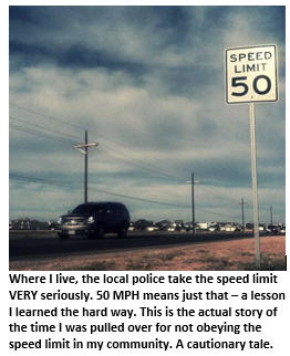 traffic stop - speed limit sign